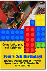 Design online, download jpg immediately DIY lego blocks party birthday Invitations