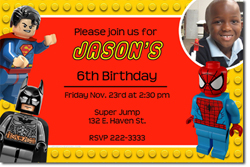 Design online, download jpg immediately DIY Lego Super Heroes birthday party Invitations