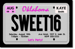 Design online, download jpg immediately DIY license plate pink birthday party Invitations