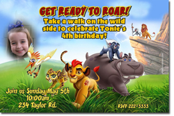 Design online, download jpg immediately DIY the lion guard birthday party Invitations