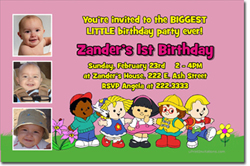Design online, download jpg immediately DIY little people pink party birthday Invitations