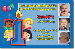 Design online, download jpg immediately DIY little people party birthday Invitations