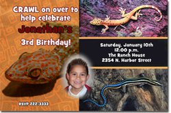 Design online, download jpg immediately DIY lizard party birthday Invitations