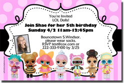 Design online, download jpg immediately DIY lol surprise dolls party birthday Invitations