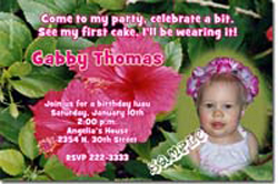 Design online, download jpg immediately DIY luau pink flowers birthday party Invitations