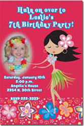Design online, download jpg immediately DIY luau hula girl party birthday Invitations