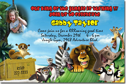 Design online, download jpg immediately DIY madagascar party birthday Invitations