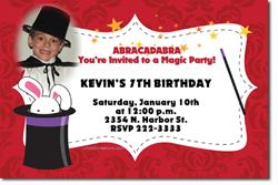 Design online, download jpg immediately DIY magic rabbit in the hat birthday party Invitations