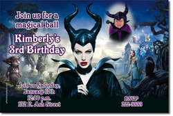 Design online, download jpg immediately DIY maleficent party birthday Invitations