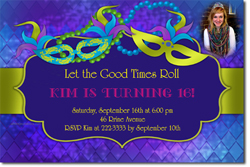 Design online, download jpg immediately DIY mardi gras party birthday Invitations