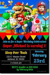Design online, download jpg immediately DIY super mario party birthday Invitations