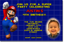 Design online, download jpg immediately DIY mario party birthday Invitations