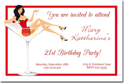 Design online, download jpg immediately DIY martini party birthday invitations
