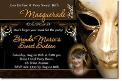 Design online, download jpg immediately DIY masquerade ball birthday party invitations