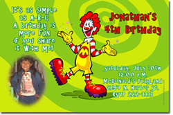 Design online, download jpg immediately DIY ronald mcdonalds party birthday Invitations