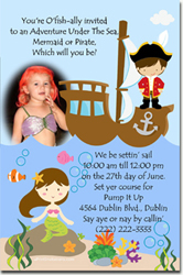 Design online, download jpg immediately DIY mermaid and pirate party birthday Invitations