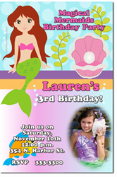 Design online, download jpg immediately DIY mermaid party birthday Invitations