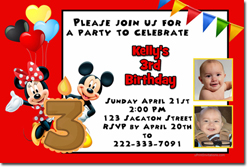 Design online, download jpg immediately DIY mickey mouse and minnie mouse birthday Invitations