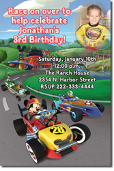 Design online, download jpg immediately DIY Mickey Mouse and Roadster Racers Birthday Party Invitations