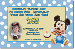 Design online, download jpg immediately DIY baby mickey mouse birthday party Invitations