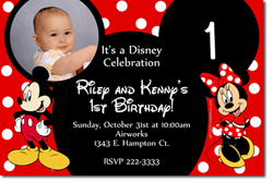 Design online, download jpg immediately DIY mickey mouse and minnie mouse ears party birthday Invitations