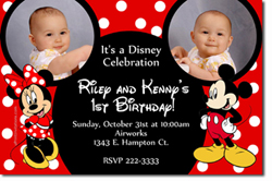 Design online, download jpg immediately DIY mickey mouse and minnie mouse party birthday Invitations