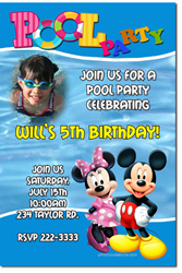 Design online, download jpg immediately DIY mickey mouse and minnie mouse pool party birthday Invitations