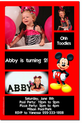 Design online, download jpg immediately DIY mickey mouse birthday party Invitations