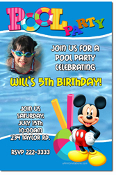 Design online, download jpg immediately DIY mickey mouse pool party birthday Invitations