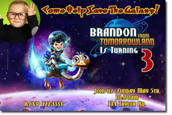 Design online, download jpg immediately DIY miles from tomorrowland birthday party Invitations