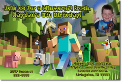 Design online, download jpg immediately DIY mindcraft birthday party Invitations