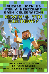 Design online, download jpg immediately DIY minecraft birthday party Invitations