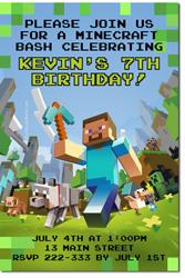 Design online, download jpg immediately DIY minecraft birthday party Invitations