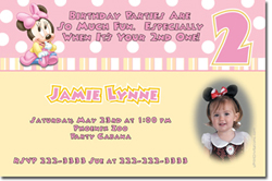 Design online, download jpg immediately DIY baby minnie mouse party birthday Invitations