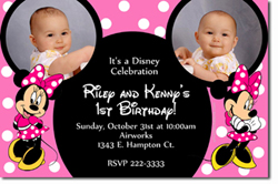 Design online, download jpg immediately DIY minnie mouse ears party birthday Invitations