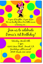 Design online, download jpg immediately DIY minnie mouse polka dots party birthday Invitations