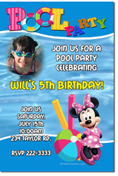 Design online, download jpg immediately DIY minnie mouse pool party birthday Invitations