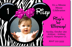 Design online, download jpg immediately DIY minnie mouse zebra stripes party birthday Invitations