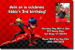 Design online, download jpg immediately DIY Miraculous Ladybug and Cat Noir party birthday Invitations