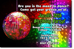 Design online, download jpg immediately DIY mirror ball disco party birthday Invitations