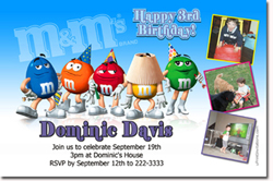 Design online, download jpg immediately DIY m&ms party birthday Invitations