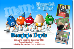 Design online, download jpg immediately DIY M&M party birthday Invitations
