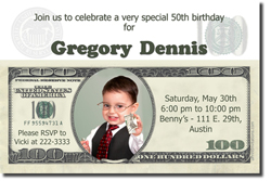 Design online, download jpg immediately DIY money birthday party Invitations