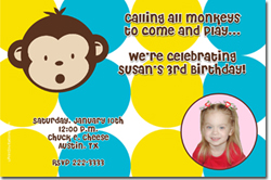 Design online, download jpg immediately DIY monkey birthday party Invitations