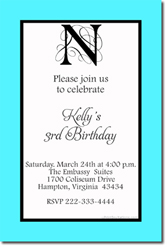 Design online, download jpg immediately DIY monogram birthday party Invitations