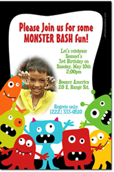 Design online, download jpg immediately DIY monster bash birthday party Invitations