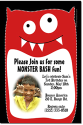 Design online, download jpg immediately DIY monster faces birthday party Invitations