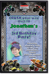 Design online, download jpg immediately DIY monster truck birthday party Invitations