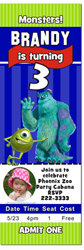 Design online, download jpg immediately DIY monsters inc ticket party birthday Invitations