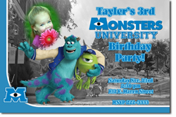 Design online, download jpg immediately DIY monsters party birthday Invitations